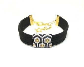 Bee Apis black, white and gold suede and bead weaving bracelet with miyuki beads