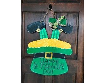 St. Patrick's Day Leprechaun - Pot of Gold -Door Hanger - Wreath Accent - Lucky - Wood Sign