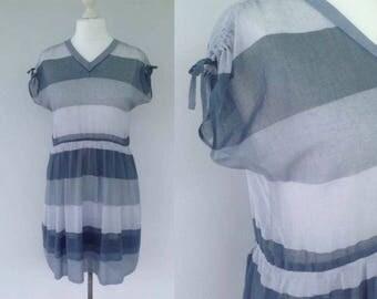 Vintage Grey Striped Dress, Japanese Dress, Stripey Dress, Hipster Dress, Casual Dress, Cool Dress, Summer Dress, Grey, Size 14