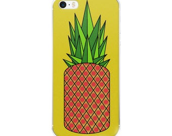Retro Pineapple iPhone Case, original design, geometric, green, yellow, red, gift idea, present, phone case, neon