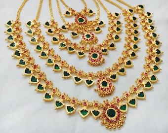 Traditional Micro Gold Plated Necklace sets- Kerala Palakka Necklaces- Nagaphadam necklace- Mango Necklace