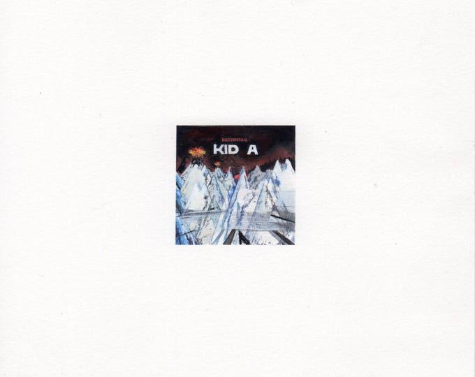 "Print of miniature painting of Radiohead Kid A Album. 1 1/4""x1 1/4"" print of original Radiohead painting on 5"" square german etching paper"