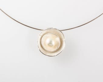 Sterling Silver Double Dish Necklace with Pearl