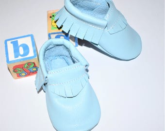 Baby Moccasins, Blue Moccasins, Leather Baby Moccasins, Baby Blue Baby Moccasins shoes, Blue baby booties, Blue Baby shoes Toddler shoes