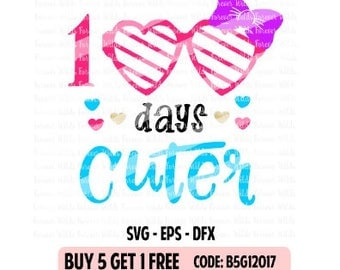 Girls 100 days svg - 100 days of school SVG - DXF - EPS- cut file - school svg - Foreverwilds -  silhouette cut file - cameo file - iron on