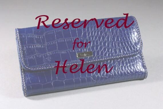 RESERVED FOR HELEN Faux Crocodile Skin Tri-fold Wallet, Liz & Co. Woman's Wallet, Dark Blue, Snap Closure, Card Slots, Window Slot