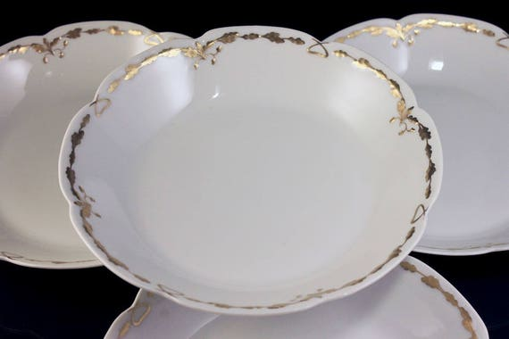 Antique Soup Bowls, Old Abbey, Limoges France, Latrille Freres, Raised Gold, Hand Painted, Set of 4, Rare, Hard to Find