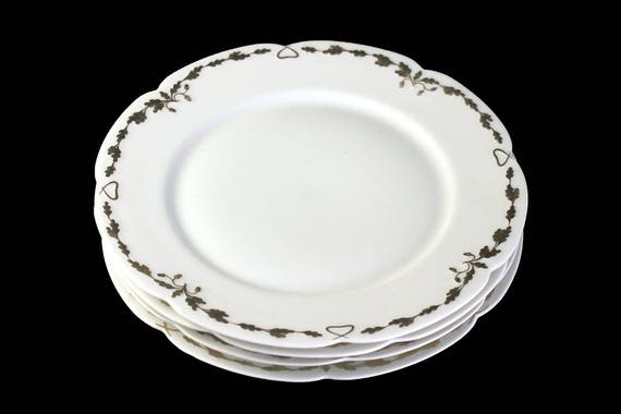 Antique Salad Plates, Old Abbey, Limoges France, Latrille Freres, Raised Gold, Hand Painted, Set of 4, Rare, Hard to Find