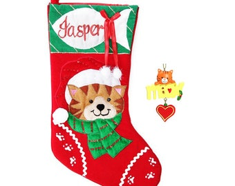 Personalised Cat Stocking and Tree Ornament Pack