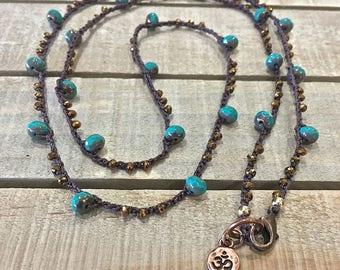 "Turquoise and bronze crochet necklace-boho crochet necklace- tiny ""ohm"" charm,  layering crochet necklace, yoga crochet jewelry"