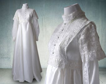 1970s Bohemian Wedding Dress Edwardian Style Long Sleeves