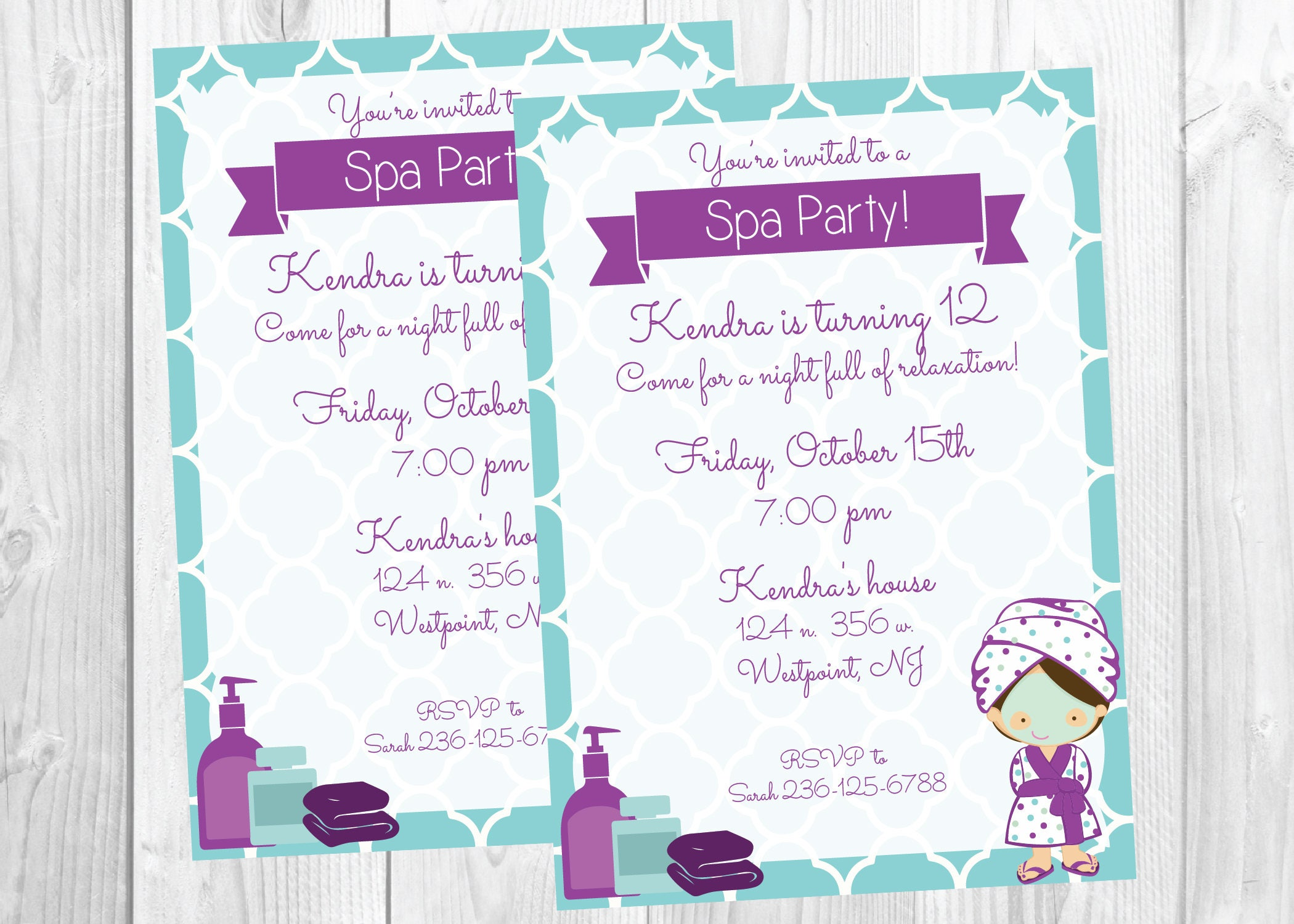 Spa Party Invitation Teen tween Girl Birthday Party Invite