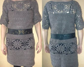 Ladies brown color crochet tunic dress