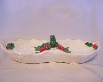 Lefton White Holly Christmas Dish, Japan