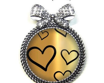 Brooch pin with its Cap 3 cm * hearts * (310517)