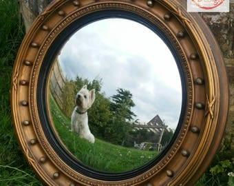 Large Vintage Porthole Round Decorative Gilt Convex Mirror