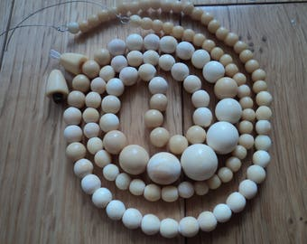 Antique, 19 th C China bovine bone carved necklace/beads/