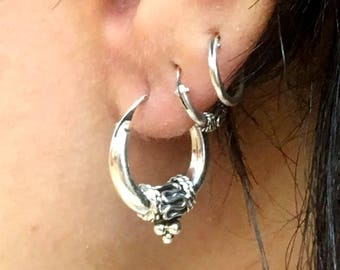 Silver Earrings, Silver Hoop Earrings, Ethnic Earrings, Tribal Earrings, Round Earrings, Spiral Earrings, Ethnic Hoops, Tribal Hoops
