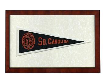 South Carolina 1953 pennant (Original framed Hormel) Custom Framed U/V Glass