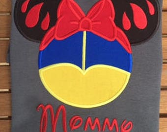 Snow White Minnie Head Disney Family Shirts Princess Shirt Disney Applique Shirt