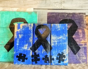 Awareness ribbon pallet sign, pallet board signs, ribbon signs, awareness ribbon, support sign, awareness ribbon sign, awareness ribbon art