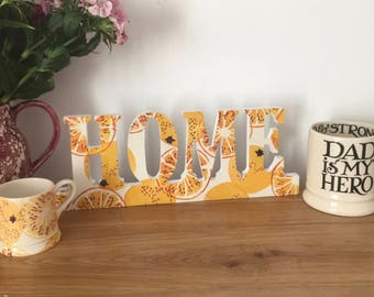 Decoupaged Free Standing and Wall Hanging 'HOME' in Emma Bridgewater's Black Toast Marmalade