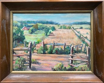 Vintage Signed Original Oil Painting Farm Landscape By Ohio Artist George S. Stahl