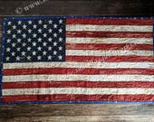 USA Flag - Quilted Wall Hanging with Hanging Pocket. Quilted Wall Art, United States Flag Wall Hanging, Patriotic American Quilt, Americana