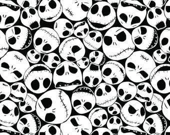 Springs Disney Nightmare Before Christmas Fabric By Yard Half Yard Tim Burton Packed Jack Faces Black & White Cotton Quilting Apparel Fabric