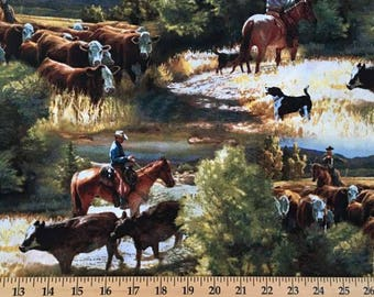 Western Fabric Cowboy Fabric Ranch Western Cattle Drive Horses Steer Cow Wrangler Cotton Fabric t4/28