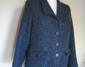 summer sale Vintage womens suit Marika Couture Tweed blue suit - jacket with matching skirt size large