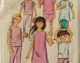 Simplicity 6952 vintage 1960's girls dress or top and pants or shorts sewing pattern size 8