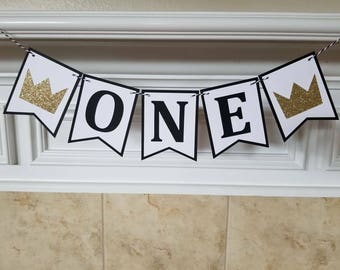 ONE High Chair Banner... First Birthday... Baby Boy...Baby Girl... Party Ideas... Party Decor...