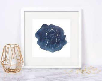Libra Constellation Print Libra Star Sign Zodiac Watercolor Art Print Libra Art Night Sky Stars Print Astrology Art Libra Gifts