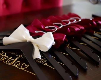 Set of 7--personalized hanger, wedding hanger, bridal hanger bridal gift, customized hanger, bridesmaid hanger