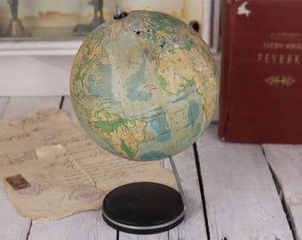 "70's globe, Vintage globe, Small world globe, Home decor, Bar or office decor, Desk globe, 5.5"" globe, Old globe, Soviet world globe gift"