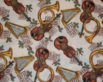 Texstyles Fabric, Violin and Christmas Horn Fabric, Christmas Quilting Fabric, Vintage Quilting Fabric, Christmas Harp Fabric, Quilting