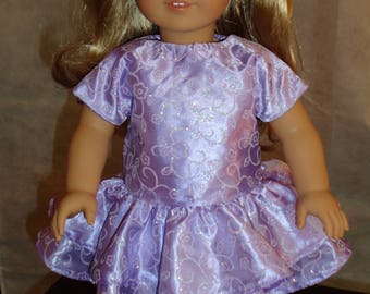 "Lavender / Purple Party Dress for 18"" Dolls. Made in USA fits American Girl, Our Generation Dolls"