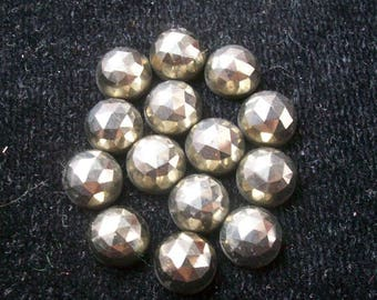 10 pieces 3mm Golden Pyrite rosecut cabochon round Gemstone, Golden pyrite round rose cut Gemstone, Pyrite Rose cut Round faceted Gemstone