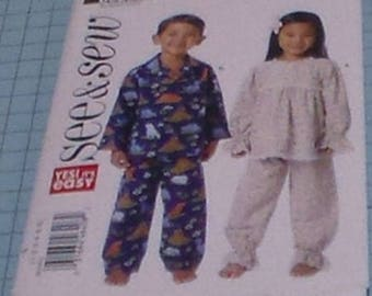 See & Sew 6268 Child's Pajamas Size 1-6