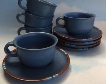 5 Dansk Mesa Blue Mid Century Cups and Saucers Mugs Pottery