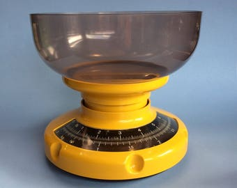 Vintage Yellow Mechanical Kitchen Scale Mid Century