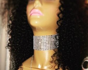 Silver Crystal Mesh Faux Diamond Rhinestone Video Vixen Choker Necklace