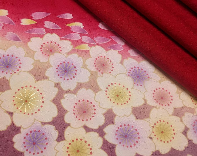 Featured listing image: Deep red silk furisode kimono fabric sleeve panel -  sakura cherry blossoms