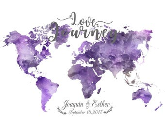 Lavender World Map gift Personalized wedding gift Wedding Guest book Printable Personalized Map gift - Printable Files only