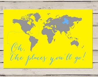 Oh the places you will go print, Nursery Decor, Oh the places you will go map, Oh the places youll go, World Map