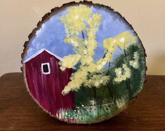 Red Barn Scene on Slice of Wood
