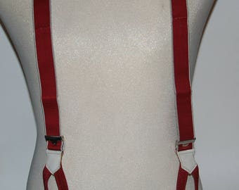 Vintage 1960-'70s era Burgundy Silk Suspenders Braces by BOND -- Free Shipping!