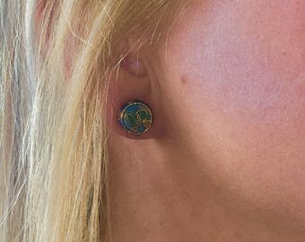 Blue Mosaic Stud Earrings