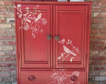 Red bird armoire, red armoire, children's furniture, wardrobe armoire, stenciled armoire, painted armoire, armoire dresser, bird theme